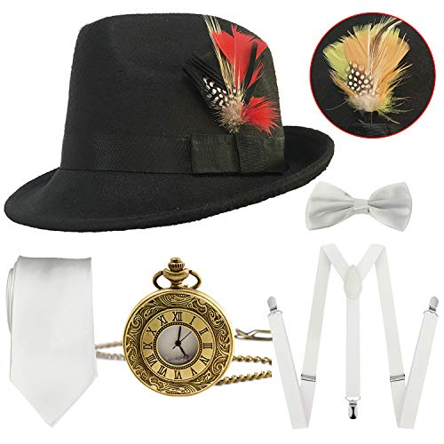 1920s Mens Gatsby Costume Accessories,Manhattan Fedora Hat w/Feather,Vintage