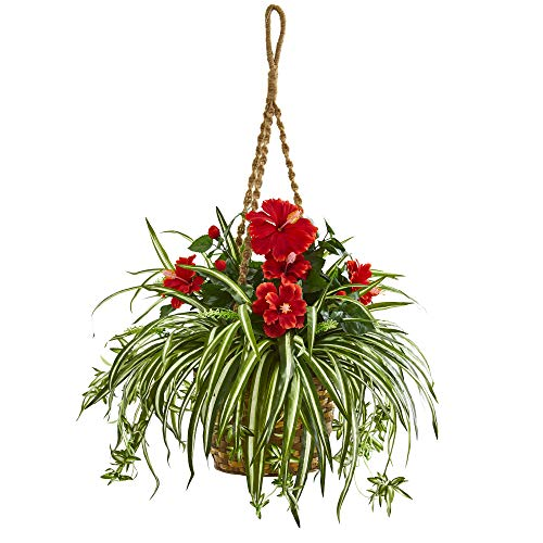 Nearly Natural 8381 Hibiscus & Spider Artificial Hanging Basket Silk Plants Red