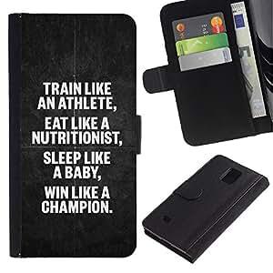 Supergiant (Athlete Nutritionist Champion Poster) Dibujo PU billetera de cuero Funda Case Caso de la piel de la bolsa protectora Para Samsung Galaxy Note 4 IV / SM-N910