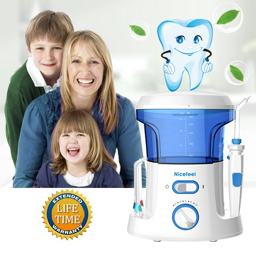 Nicefeel Electric Dental Water Flosser 600ml Capacity Quite Design(50db)Anti-leakage Professional Countertop Dental Oral Irrigator with 7 Multifunctional Tips for Adult and Kids by Nicefeel (Image #6)