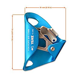 KwikSafety Yoke Aluminum Alloy Chest Ascender | Outdoor Arborist Caving Tree Rope Mountain Rock Climbing Fall Protection Safety Equipment Gear | Pro Quality Strong Smooth Durable Blue