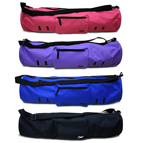 "Yoga[Addict] Large Yoga Mat Bag ""Compact"" With Pockets & Zipper, 28""x8"" & 29""x11"" Long, Fit Most Mat Size, Extra Wide, Adjustable Strap, Easy Access"