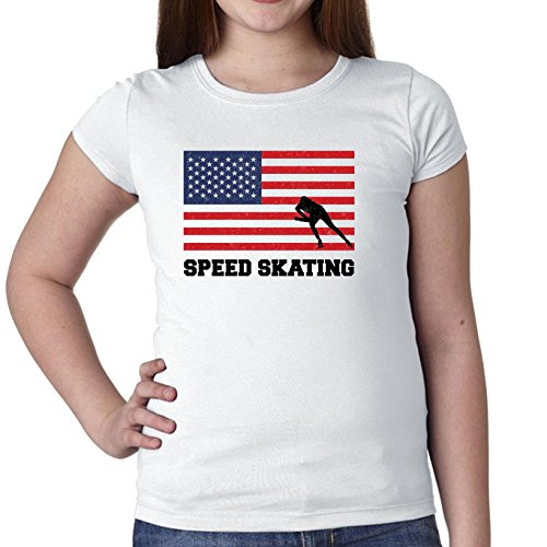 Hollywood Thread USA Olympic - Speed Skating - Flag - Silhouette Girl's Cotton Youth ()