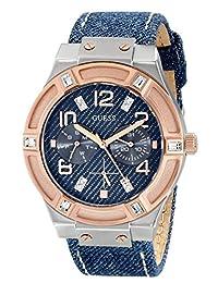 Guess Women's U0289L1 Blue Leather Quartz Watch with Blue Dial