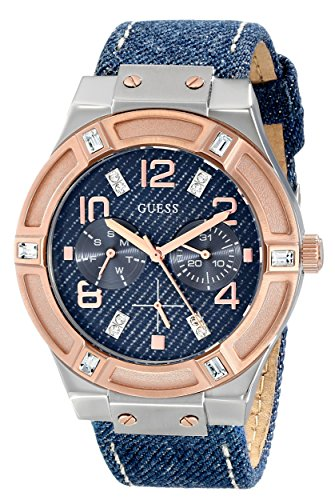 GUESS-Womens-U0289L1-Silver-and-Rose-Gold-Tone-Multi-Function-Watch-with-Denim-Strap