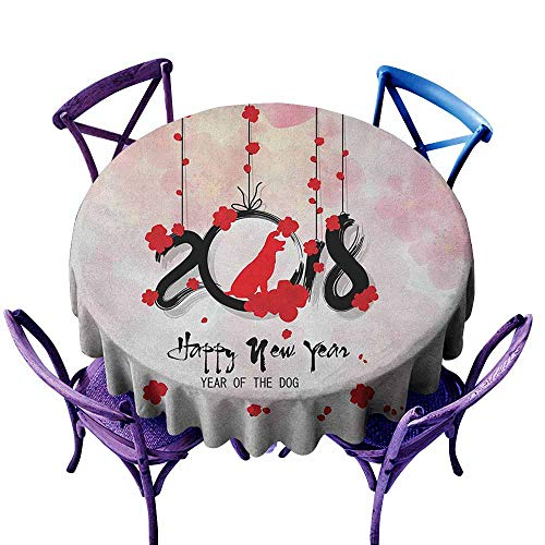 """familytaste Year of The Dog,Table Cover Round Tablecloth D 60"""" Brush Calligraphy New Year with Cherry Blossom Silhouettes Picnic Cloth"""