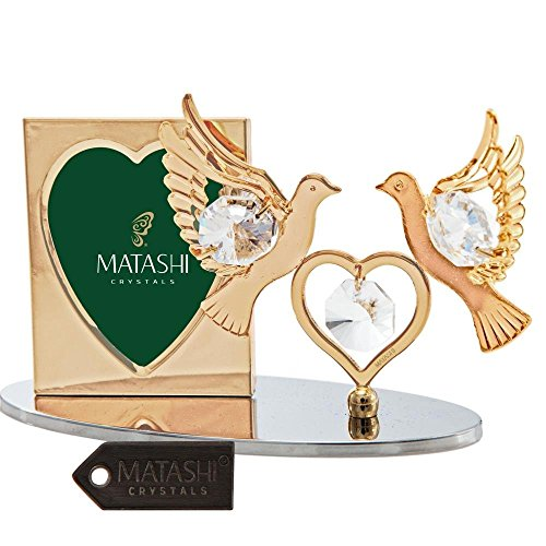 Double Crystal 24k Plated Gold - 24K Gold Plated Picture Frame with Crystal Decorated Double Dove Figurine on a Base by Matashi