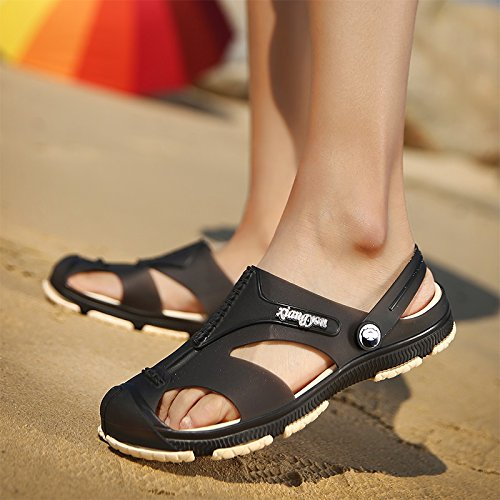 Xing Lin Sandalias De Mujer Verano Nuevo Tipo De Frenos Ahuecado Masculino Zapatillas Cool Baotou Playa Cueva Grande Baño Zapatos Sandalias De Código black