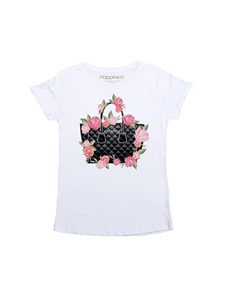 HAPPINESS T-Shirt da Donna Bag Flower. Bianco, L MainApps