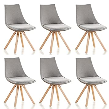 designetsamaison lot de 6 chaises scandinaves grises en tissu minsk - Chaises Scandinaves Grises