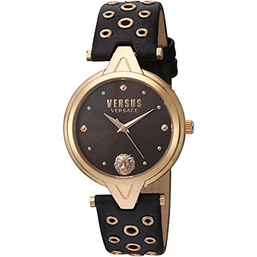 Versus by Versace Women's 'V Versus eyelets' Quartz Stainless Steel and Leather Casual Watch, Color:Brown (Model: SCI060016)