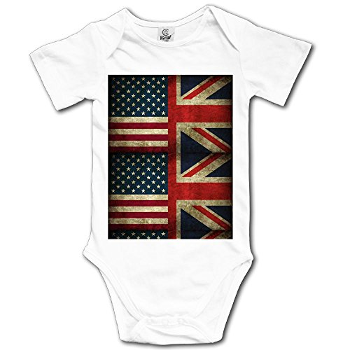 Unisex Baby's Climbing Clothes Set US UK Flag Bodysuits Romper Short Sleeved Light Onesies for 0-24 Months