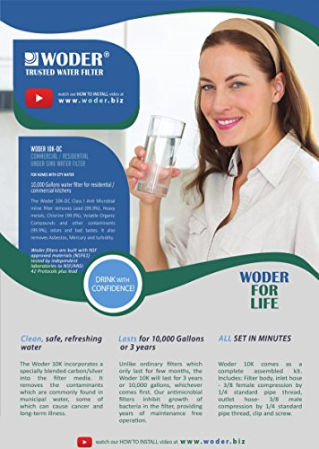 Woder 10K-DC Ultra High Capacity Under Sink Direct Connect Water Filtration System — Under Sink, Premium Class 1. Removes 99.99% of Contaminants for Safe, Fresh and Crisp Water, USA-Made by Woder (Image #4)