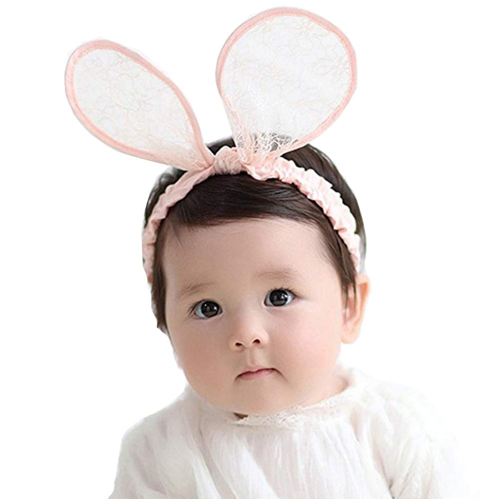 Amazon.com  RQJ Baby Girls Rabbit Ear Lace Headband Bunny Elastic Minnie  Mouse Ears Hair Bows for Toddler(pink)  Clothing 0791dc74e56