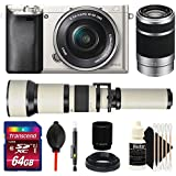 Sony Alpha A6000 24.3MP Digital Camera Silver with 16-50mm Lens, 55-210mm Lens, 650-1300mm Lens and Accessory Bundle