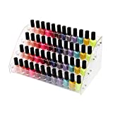 Nail Polish Rack Organizer 4 Tiers Acrylic Display Holder Stands Shelf Tray for Desktop Liquid Spray Dropper Bottles E ssential Oil Lipstick Store Juice Makeup Cosmetic Samples File Case Clear Plastic