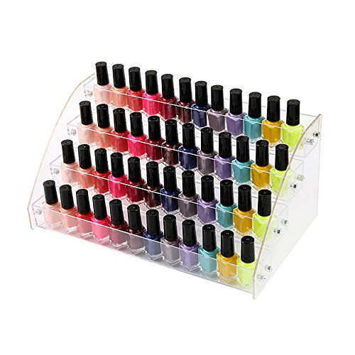 Nail Polish Rack Organizer 4 Tiers Acrylic Display Holder Stands Shelf Tray for Desktop Liquid Spray Dropper Bottles E ssential Oil Lipstick Store Juice Makeup Cosmetic Samples File Case Clear Plastic -