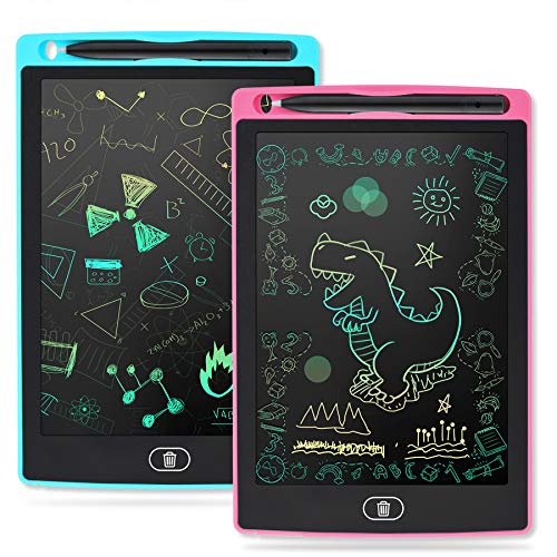 JIAOCSA 2 Pack LCD Writing Tablet 8.5 Inch Electronic Drawing Pads for Kids Portable Ewriter Doodle Board (Blue/Pink)