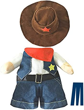 Mikayoo Pet Dog Cat Halloween Costumes,The Cowboy for Party Christmas Special Events Costume,West Cowboy Uniform with Hat,Funny Pet Cowboy Outfit Clothing for Dog cat 34