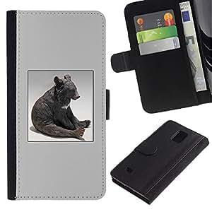 A-type (Oso Sentado Estatua Modern Art Bosque Animal) Colorida Impresión Funda Cuero Monedero Caja Bolsa Cubierta Caja Piel Card Slots Para Samsung Galaxy Note 4 IV