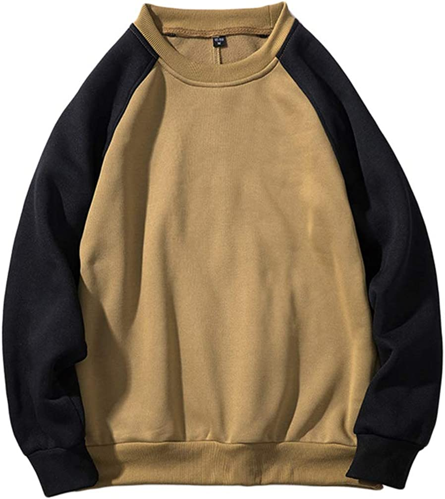 Zhiyuanan Mens Oversized Raglan Sweatshirts Without Hood Plus Size Autumn Winter Crew Neck Loose Fit Casual Sports Hoodless Round Neck Pullover Jumpers