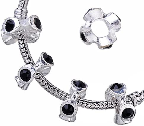 10PCs Silver Jewelry Findings Bracelet Charms With Colorful Crystals Jewellery