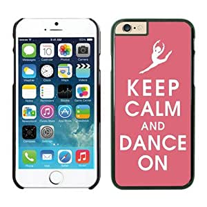 2014 New Apple Iphone 6 TPU Case Cover 4.7 Inches Soft Black Rubber Keep Calm and Dance Pink