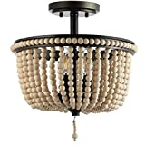 JONATHAN Y JYL9020A Allie 14'' Wood Beaded/Metal Flush Mount, Black