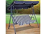 bulk buys Canopied Striped Swing Chair, Blue