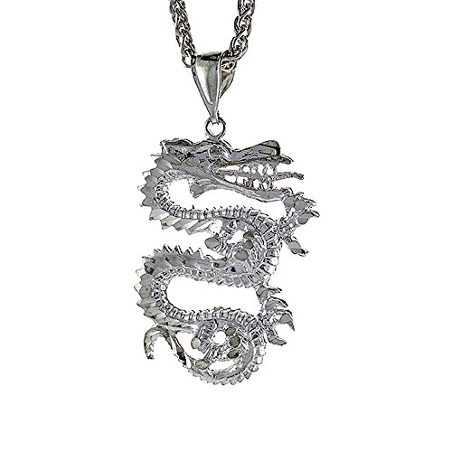 Sterling Silver Chinese Dragon Pendant - Sterling Silver Small Chinese Dragon Pendant, 1 1/8 inch tall