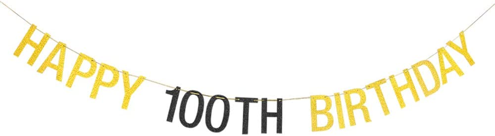Halawawa Happy 100th Birthday Banner, 100th Birthday Party Decorations, One Hundred Years Old Birthday Photo Props, Cheers to 100 Years Hanging Banner - Gold and Black