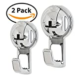 FE-H3019-2PK | No Drill Flat Hook For Towel Laptop Coat Bag With Power Suction Cup Hook up to 13 lbs. Capacity in Chrome Color | 2-Pack