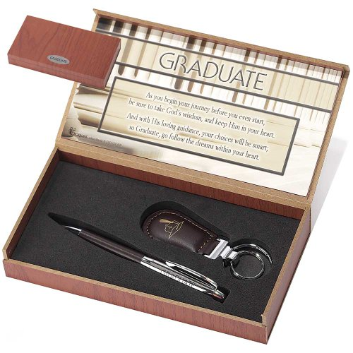 Graduate His Loving Guidance 2 Piece Ballpoint Pen and Keychain Gift Boxed Set