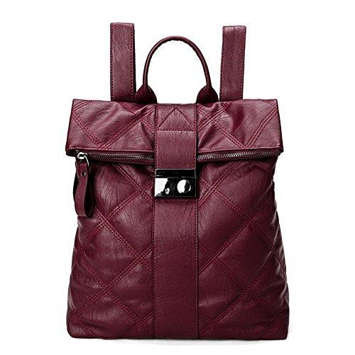 GMBBB180705 Femme Sacs Boucle dos Pu à de AgooLar Cuir Daypack Rouge randonnée Daypacks Vineux R0dPWqw