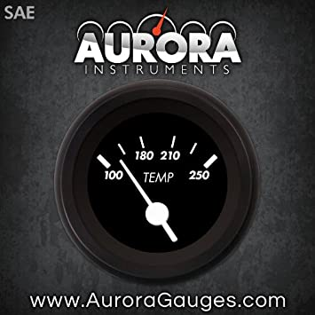 Aurora Instruments 1181 Marker Black SAE Water Temperature Gauge White Vintage Needles, Black Trim Rings, Style Kit Installed
