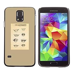rígido protector delgado Shell Prima Delgada Casa Carcasa Funda Case Bandera Cover Armor para Samsung Galaxy S5 SM-G900 /Lips Babe Funny Chart Lush/ STRONG