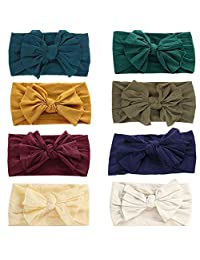 GBATERI 8 Pack Baby Girl Nylon Headbands,Baby Turban Knotted Nylon Newborn Head Bands Infant Toddler Hairbands...