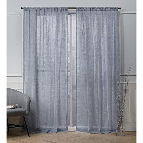 Nicole Miller Belfry Sheer Rod Pocket Top Curtain Panel, Denim, 50x84, 2 Piece