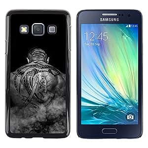 TECHCASE**Cubierta de la caja de protección la piel dura para el ** Samsung Galaxy A3 SM-A300 ** Tattoo Art Black White Back Bald Man Muscles