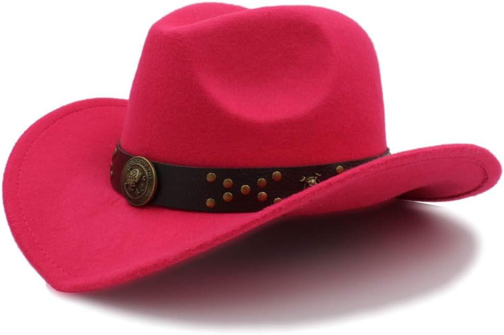 Rongjuyi Sombreros de Vaquero Gorras de Viaje para Mujeres Gorras de Hombres Sombreros Western Cowgirl Cowboys Sombreros Unisex de Fieltro Gorra de Jazz Color : Caf/é, tama/ño : 56-58CM