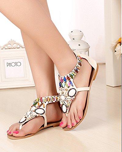 Sandalias Planas Bohemia De Mujer Zapatos Con Cremallera Sandalias De Playa Clip Toe Verano Roman T-Correa Beige