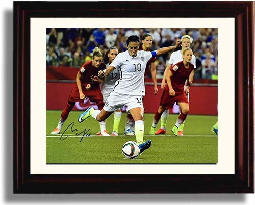 Framed Carli Lloyd Taking The Shot US Women's Soccer Autograph Replica Print