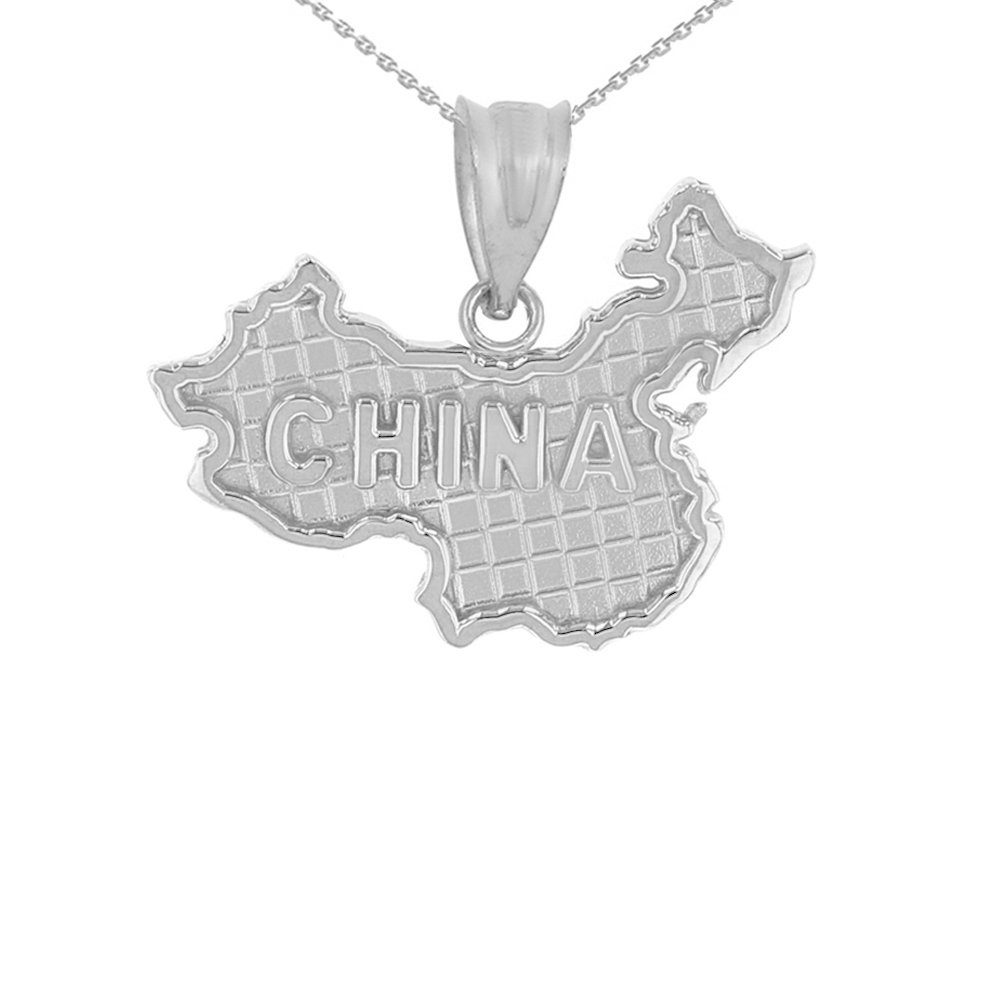 925 Sterling Silver Country Map Of China Pendant Necklace