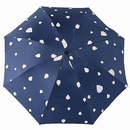 Lirener Paraguas de Cambio de Color(Gota de Agua), Paraguas Plegable para Viaje