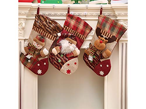 Yunqir Lattice Linen Christmas Stocking Candy Bag Gift Bag Christmas Tree Decoration(Snowman) by Yunqir (Image #2)