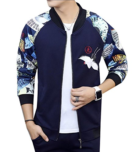 Abetteric Mens Embroidered Mandarin Collar Zip Up Fit Long Sleeve Jacket Coat Navy Blue ()