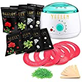 Hair Removal Kit Home Waxing Kit Hot Wax Warmer Wax Melts Machine with 17.5 oz Hard Wax Beans 20 Applicator Sticks for Painless Wax of Legs, Face, Body, Bikini Area