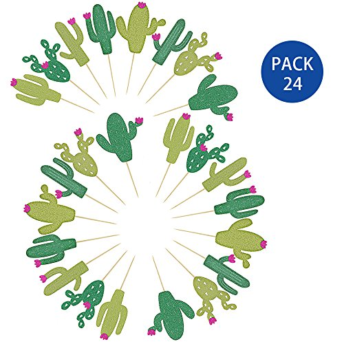 Price comparison product image Supla 24 PCS Fiesta Bachelorette Baby Graduation Party Glitter Cactus Cupcake Toppers Cupcake Picks in Different Type and Different Green for Summer Party Taco Party Taco Decoration