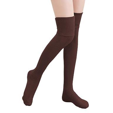 calcetines hasta la rodilla algodón medias mujer piernas calientes--marrón: Amazon.es: Ropa y accesorios