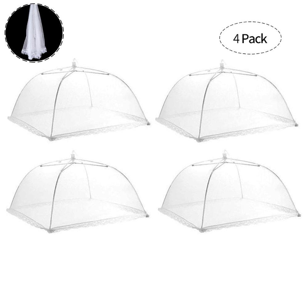 4 Stück Fliegenhaube Faltbar Speiseschirm Lebensmittel Abdeckung Zelt für Zuhause und Draußen Insektenschutzhaube, Weiß 42 x 42 x 25 cm Weiß 42 x 42 x 25 cm Centtechi